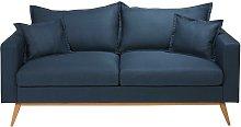 Sofá de 3 plazas de tela azul noche