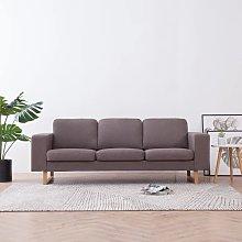 Sofá de 3 plazas de tela color gris topo - Marrón