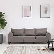 sofá de 3 plazas de tela color gris topo - Rogal