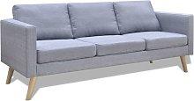 Sofá de 3 plazas de tela gris claro - Hommoo