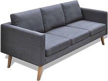 Sofá de 3 plazas de tela gris oscuro - Gris