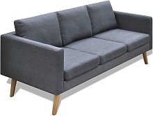 Sofá de 3 plazas de tela gris oscuro - Hommoo