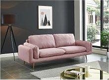 Sofá de 3 plazas de tela JAÏNA - Rosa