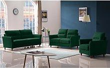 Sofá de 3 plazas de tela SIDONIE - Verde oscuro