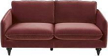 Sofá de 3 plazas de terciopelo rojo ladrillo