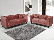 Sofá de 3 plazas de terciopelo TURNER - Rojo viejo