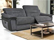 Sofá de 3 plazas relax de microfibra y piel