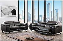 Sofá de 3 plazas relax eléctrico de piel con