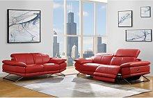 Sofá de 3 plazas relax eléctrico de piel PUNO -