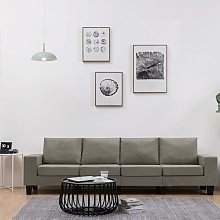 sofá de 4 plazas de tela color gris topo - Rogal