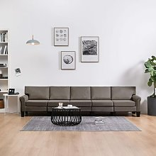sofá de 5 plazas de tela color gris topo - Rogal