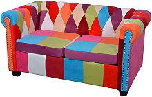 Sofá de dos plazas Chesterfield tela - Multicolor