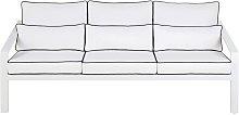 Sofá de jardín de aluminio con cojines blancos