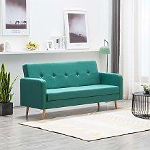 Sofá de tela verde - Hommoo