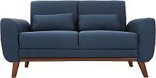 Sofá diseño 2 plazas tejido azul y patas nogal