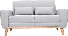Sofá diseño 2 plazas tejido gris y patas en