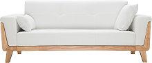 Sofá diseño 3 plazas blanco roto patas madera