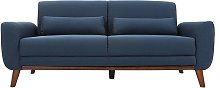 Sofá diseño 3 plazas tejido azul patas roble