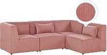 Sofá esquinero 4 plazas de pana rosa izquierdo