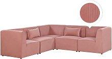Sofá esquinero 5 plazas de pana rosa derecho
