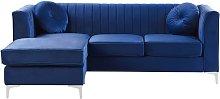 Sofá esquinero de terciopelo azul derecho TIMRA