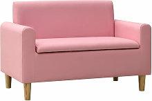 Sofa infantil de 2 plazas de cuero sintetico rosa