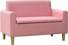 Sofá infantil de 2 plazas de cuero sintético rosa