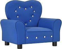 sofá infantil de cuero sintético azul - Rogal