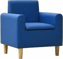 Sofá infantil de cuero sintético azul
