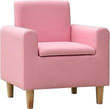 Sofá infantil de cuero sintético rosa