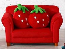 Sofá infantil de tela FRAISIER con cojines - Rojo