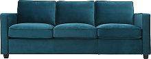Sofá moderno terciopelo azul petróleo 3 plazas
