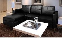 Sofa modular de 3 plazas de cuero artificial negro