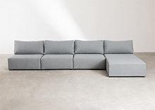 Sofá Modular de 4 Plazas con Puff Kata Gris Sklum