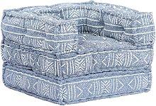 Sofá modular de tela añil patchwork - Hommoo