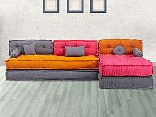 Sofá modular de tela CHASE - Fucsia, naranja y