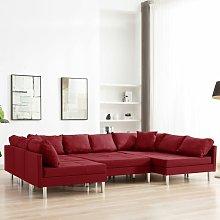 Sofá Modular de Tela Vino Tinto - Rojo - Vidaxl