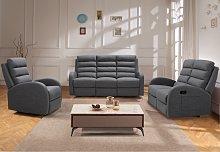 Sofá relax de 3 plazas de tela GIORGIA - Gris