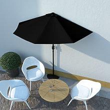 Sombrilla balcon semicircular palo aluminio negro