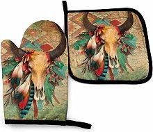 Southwest Native American Skull Plumas de Color