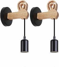 Stoex - (2x)Lámpara de Pared de Madera Moderna