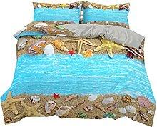 Summer Beach Shells Conch Starfish Blue Beige