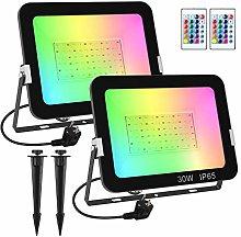 T-SUN 30W Foco RGB Led (2 Pack), Foco Colores con