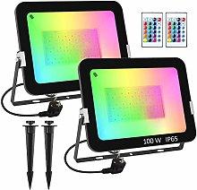 T-SUN RGB Foco LED con Control Remoto, 2X100W Foco