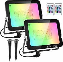 T-SUN RGB Foco LED con Control Remoto, 2X50W Foco