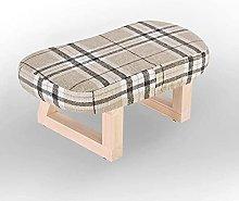 Taburete bajo de madera maciza con diseño de