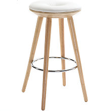 Taburete de bar escandinavo 65cm PU blanco patas
