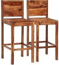 Taburete de cocina 2 unidades madera maciza de
