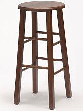 Taburete de madera redondo alto para bar e cocina