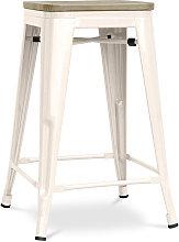 Taburete estilo Tolix - 61cm - Metal y madera